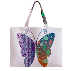 Vintage Style Floral Butterfly Zipper Mini Tote Bag