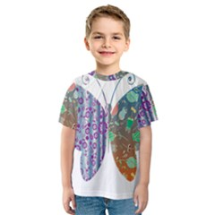 Vintage Style Floral Butterfly Kids  Sport Mesh Tee
