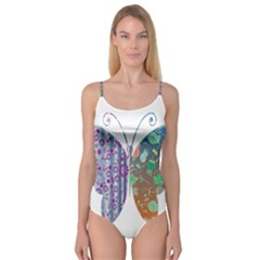 Vintage Style Floral Butterfly Camisole Leotard