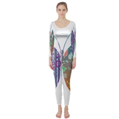 Vintage Style Floral Butterfly Long Sleeve Catsuit