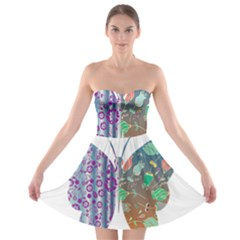 Vintage Style Floral Butterfly Strapless Bra Top Dress