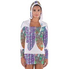 Vintage Style Floral Butterfly Women s Long Sleeve Hooded T Shirt