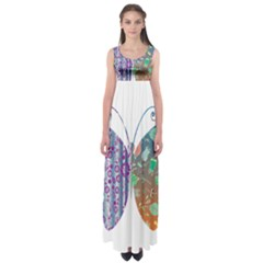 Vintage Style Floral Butterfly Empire Waist Maxi Dress