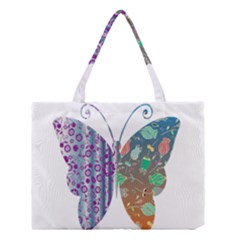 Vintage Style Floral Butterfly Medium Tote Bag
