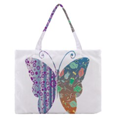 Vintage Style Floral Butterfly Medium Zipper Tote Bag
