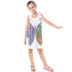 Vintage Style Floral Butterfly Kids  Sleeveless Dress