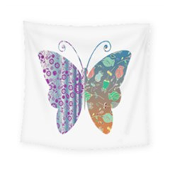 Vintage Style Floral Butterfly Square Tapestry (small)