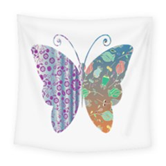 Vintage Style Floral Butterfly Square Tapestry (large)