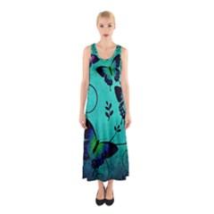 Texture Butterflies Background Sleeveless Maxi Dress