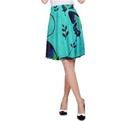 Texture Butterflies Background A Line Skirt