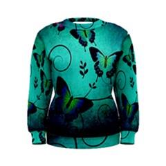 Texture Butterflies Background Women s Sweatshirt