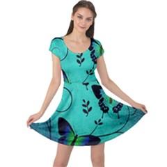 Texture Butterflies Background Cap Sleeve Dresses