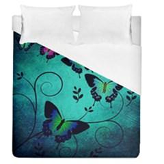 Texture Butterflies Background Duvet Cover (queen Size)