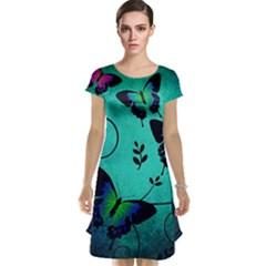 Texture Butterflies Background Cap Sleeve Nightdress