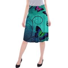 Texture Butterflies Background Midi Beach Skirt