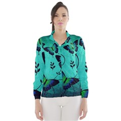 Texture Butterflies Background Wind Breaker (women)