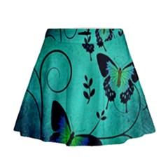 Texture Butterflies Background Mini Flare Skirt