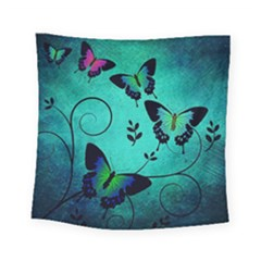 Texture Butterflies Background Square Tapestry (small)