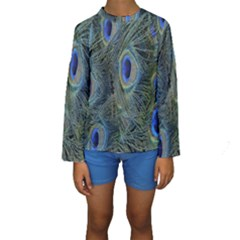 Peacock Feathers Blue Bird Nature Kids  Long Sleeve Swimwear