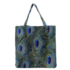 Peacock Feathers Blue Bird Nature Grocery Tote Bag