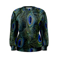 Peacock Feathers Blue Bird Nature Women s Sweatshirt