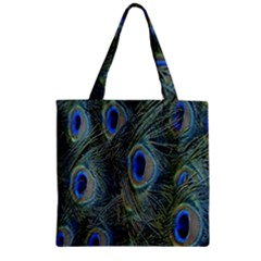 Peacock Feathers Blue Bird Nature Zipper Grocery Tote Bag