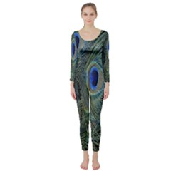 Peacock Feathers Blue Bird Nature Long Sleeve Catsuit