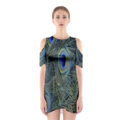 Peacock Feathers Blue Bird Nature Shoulder Cutout One Piece