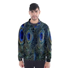 Peacock Feathers Blue Bird Nature Wind Breaker (men)