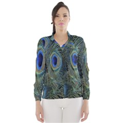 Peacock Feathers Blue Bird Nature Wind Breaker (women)