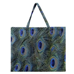 Peacock Feathers Blue Bird Nature Zipper Large Tote Bag