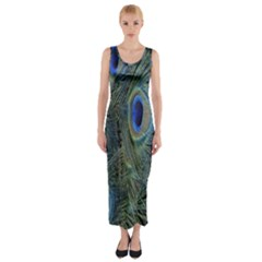 Peacock Feathers Blue Bird Nature Fitted Maxi Dress