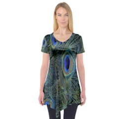 Peacock Feathers Blue Bird Nature Short Sleeve Tunic