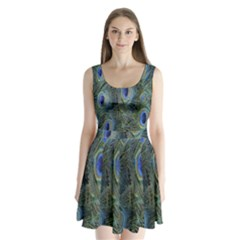 Peacock Feathers Blue Bird Nature Split Back Mini Dress