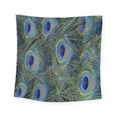 Peacock Feathers Blue Bird Nature Square Tapestry (small)