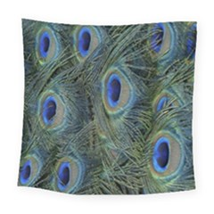 Peacock Feathers Blue Bird Nature Square Tapestry (large)