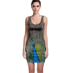 Peacock Feather Beat Rad Blue Sleeveless Bodycon Dress