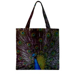 Peacock Feather Beat Rad Blue Zipper Grocery Tote Bag