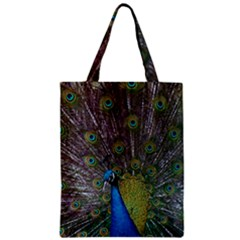 Peacock Feather Beat Rad Blue Zipper Classic Tote Bag