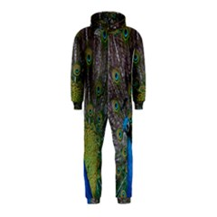 Peacock Feather Beat Rad Blue Hooded Jumpsuit (kids)