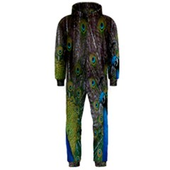 Peacock Feather Beat Rad Blue Hooded Jumpsuit (men)