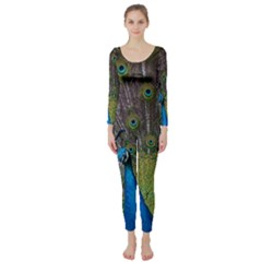 Peacock Feather Beat Rad Blue Long Sleeve Catsuit