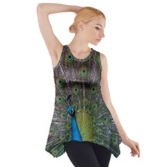 Peacock Feather Beat Rad Blue Side Drop Tank Tunic
