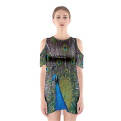 Peacock Feather Beat Rad Blue Shoulder Cutout One Piece