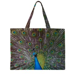 Peacock Feather Beat Rad Blue Zipper Large Tote Bag