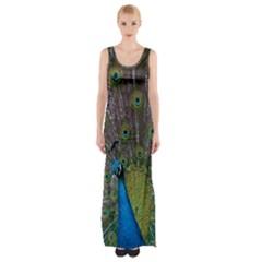 Peacock Feather Beat Rad Blue Maxi Thigh Split Dress