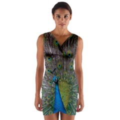 Peacock Feather Beat Rad Blue Wrap Front Bodycon Dress