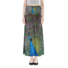 Peacock Feather Beat Rad Blue Maxi Skirts