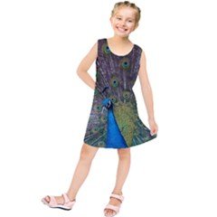 Peacock Feather Beat Rad Blue Kids  Tunic Dress