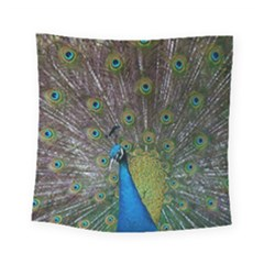 Peacock Feather Beat Rad Blue Square Tapestry (small)